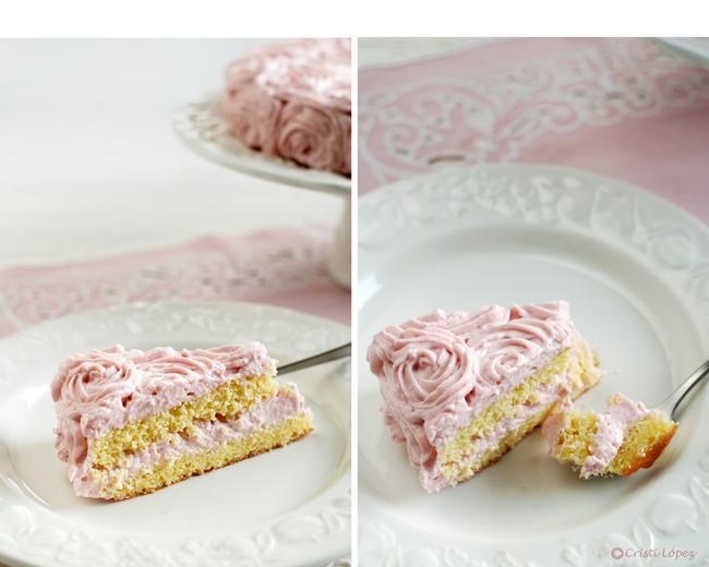 Tarta de fresas con rosas