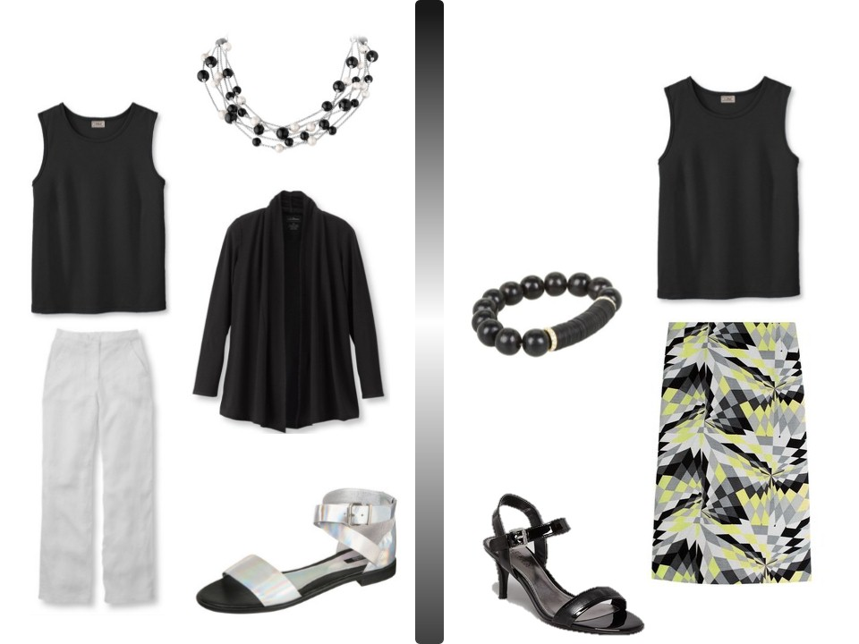 Accessories for black white dress