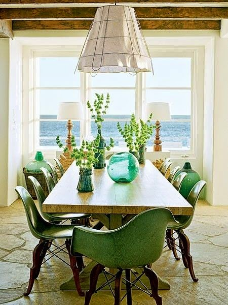 ocean view dining room green and white