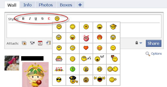 Smileys on Facebook Wall with FacePlus