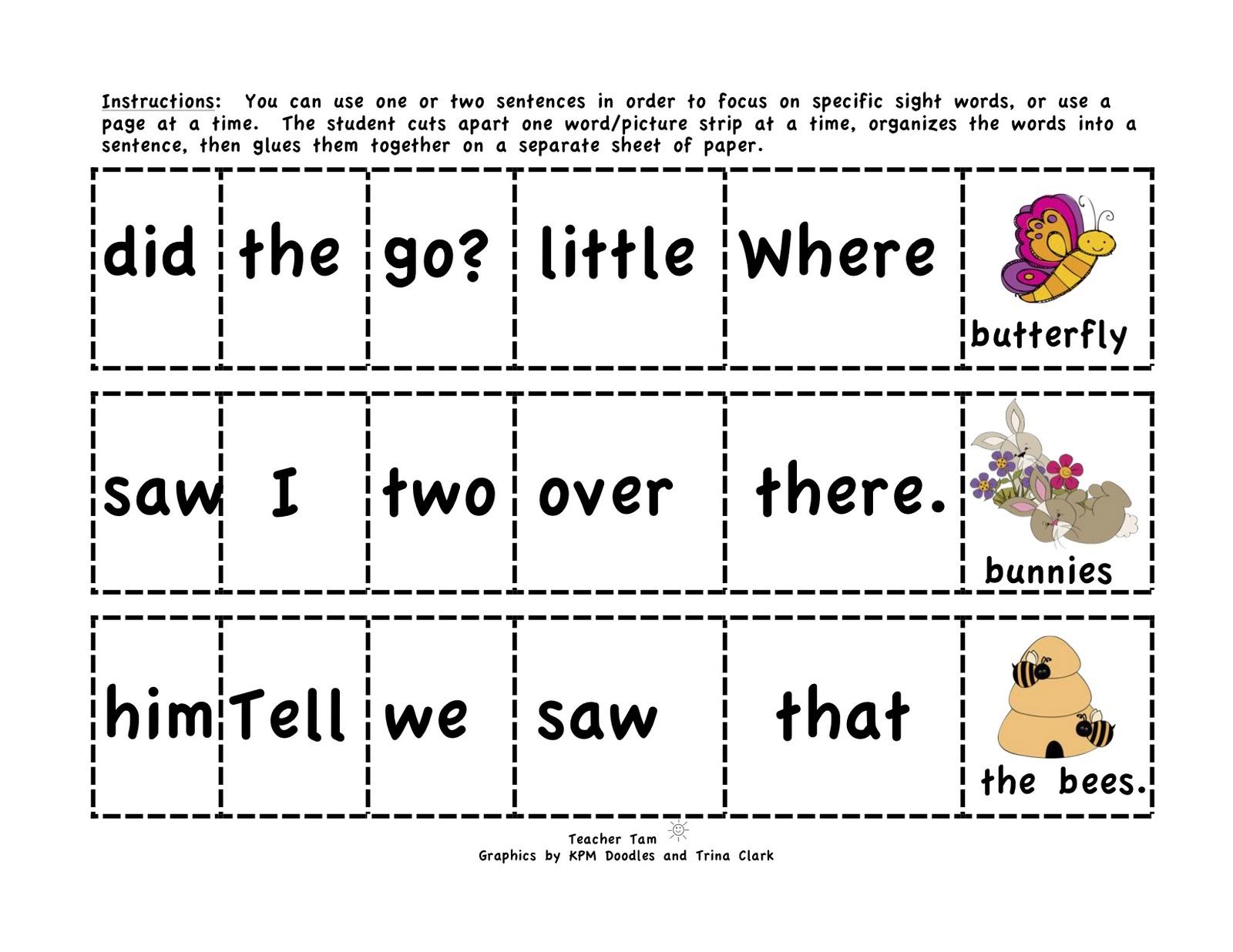 Teacher Tam\'s Educational Adventures: Cut-and-Glue Sentences for ...