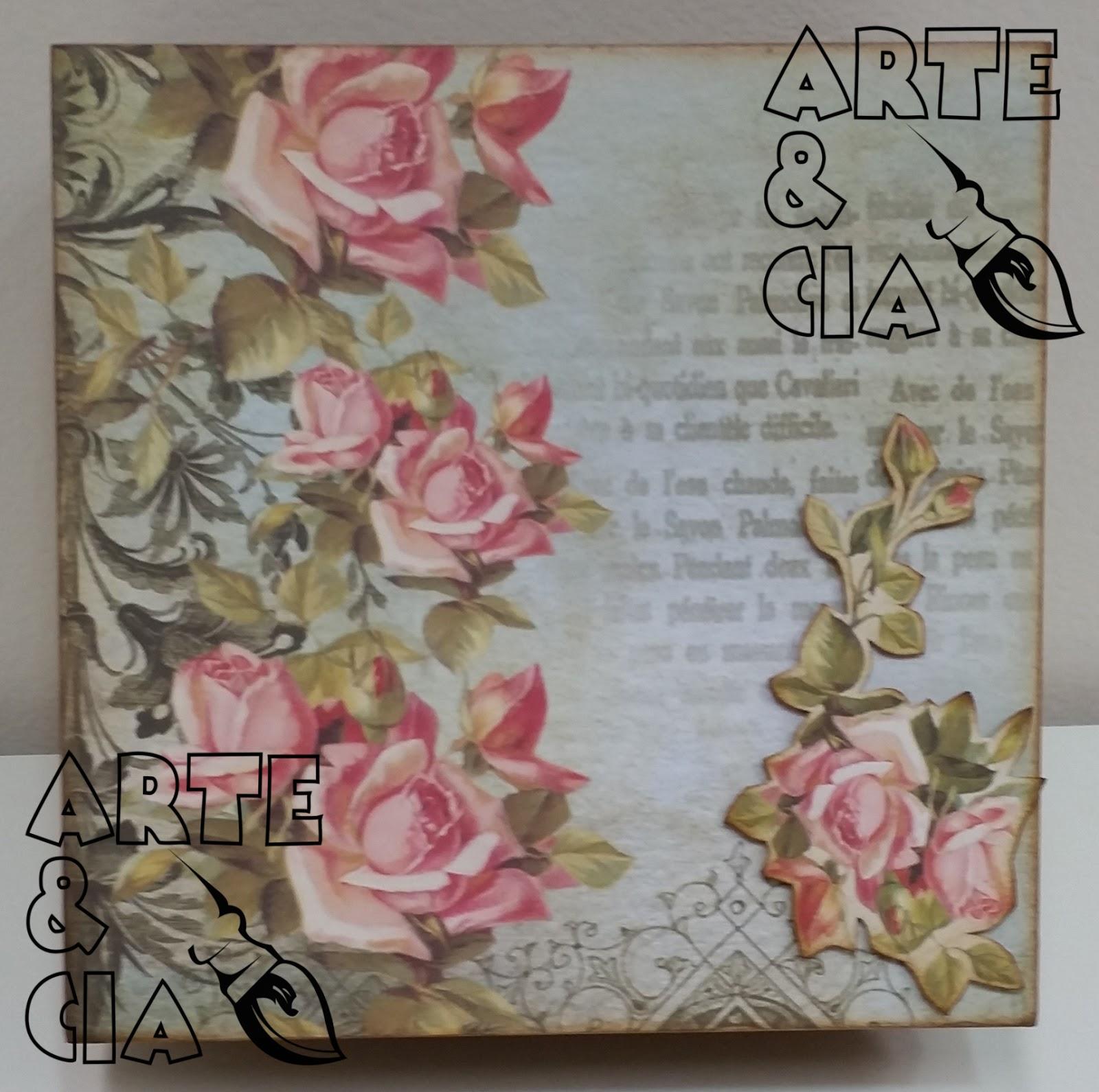 Caixa de MDF: Flores e tipografia Scrapbook Arte & Cia Arte  #86454F 1600x1591