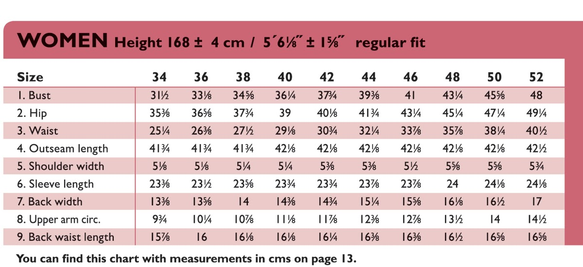The OTTOBRE Design Blog Women 39 S Size Chart In Inches
