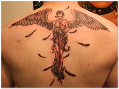 Angel Tattoo Art designs Wallpaper on the back