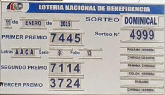 Loteria Nacional De Panama Sorteo Del Miércoles 7 De Enero 2015