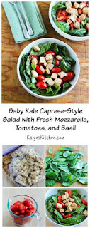 Baby Kale Caprese-Style Salad with Fresh Mozzarella, Tomatoes, and Basil [from KalynsKitchen.com]