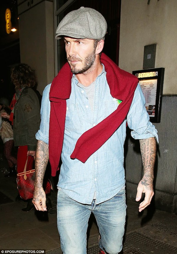 David Beckham wears Denim & Supply Ralph Lauren Chambray Utility Shirt at Benihana Japanese Restaurant Kings Road London 15th December 2014