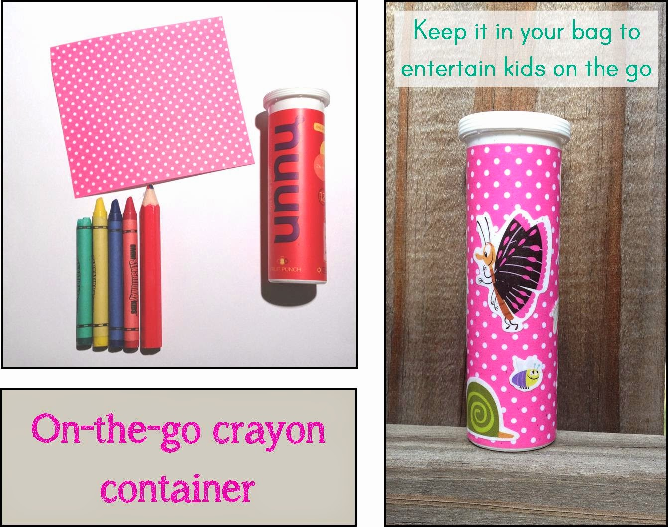 Make a container for crayons so they don't get broken and lost in your purse.