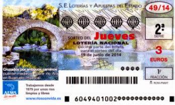 Detalle de los décimos del jueves 19 de junio de 2014 enla Lotería Nacional