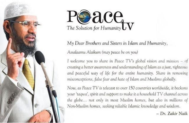 Peace TV Dr Zakir Naik Satelit Televisyen