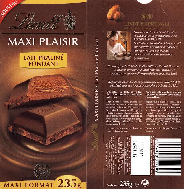 tablette de chocolat lait fourré lindt maxi plaisir lait praliné fondant