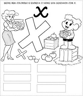 Atividade para pintar e escrever palavras - Turma da Mônica