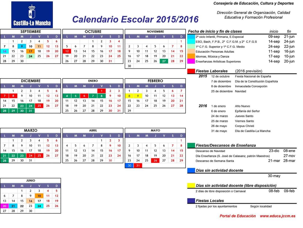 CALENDARIO ESCOLAR 2015/16 CLM
