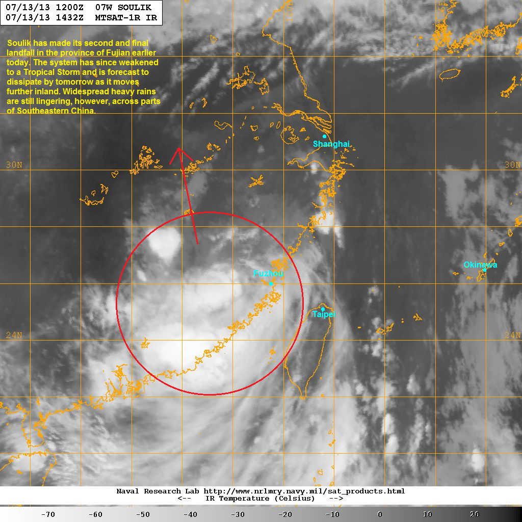 latest satellite image shows the core of soulik has really degraded since it made landfall the center is very hard to locate now although convective