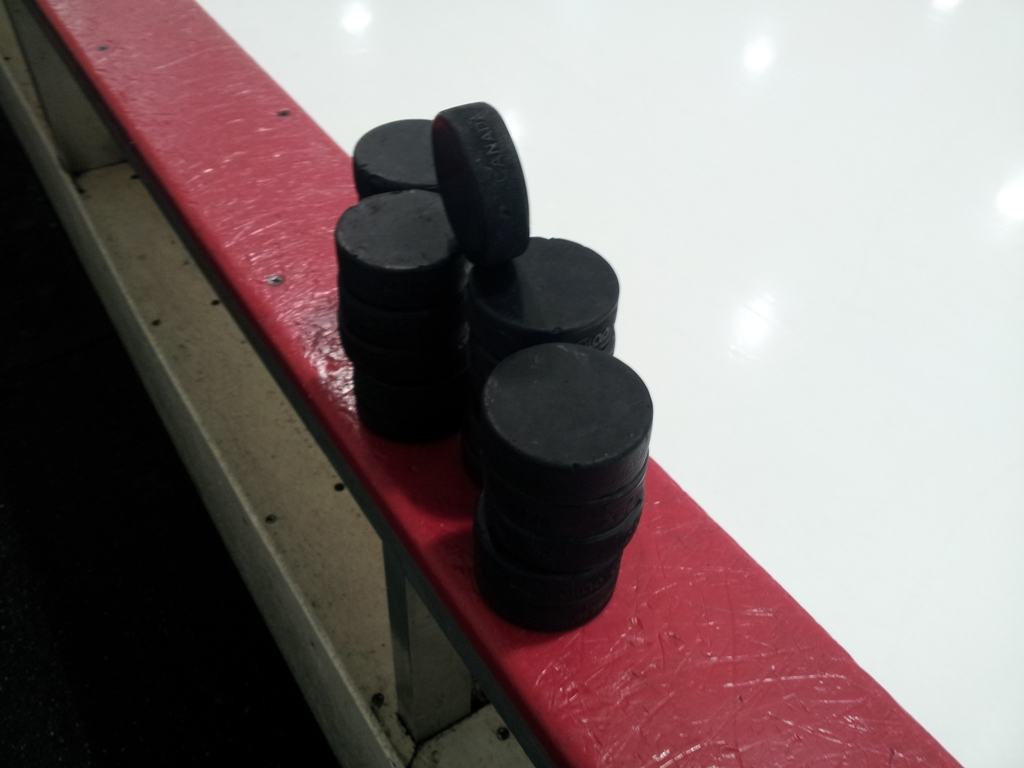 Back At 84 Lumber Arena I Decided To Get Artsy Here Are PSUs Pucks Waiting For Warmup