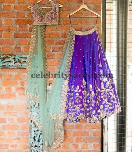 Brinjal Purple Half Saree