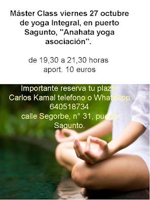"máster class yoga viernes, en Puerto de Sagunto ""Anahata"""