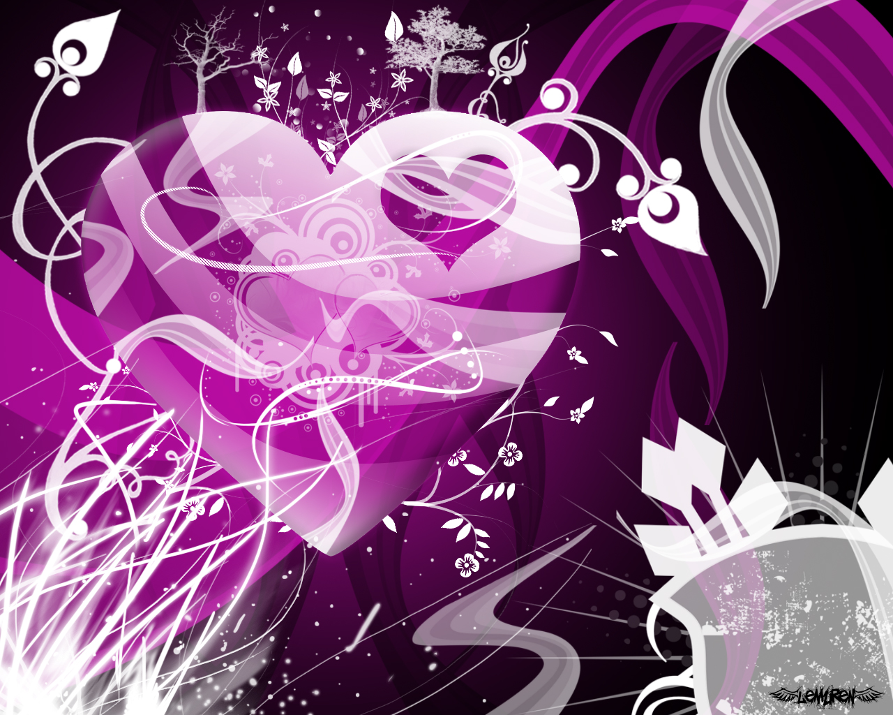 wallpapers purple hearts pink - photo #21