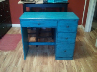 Distressed Turquoise Desk