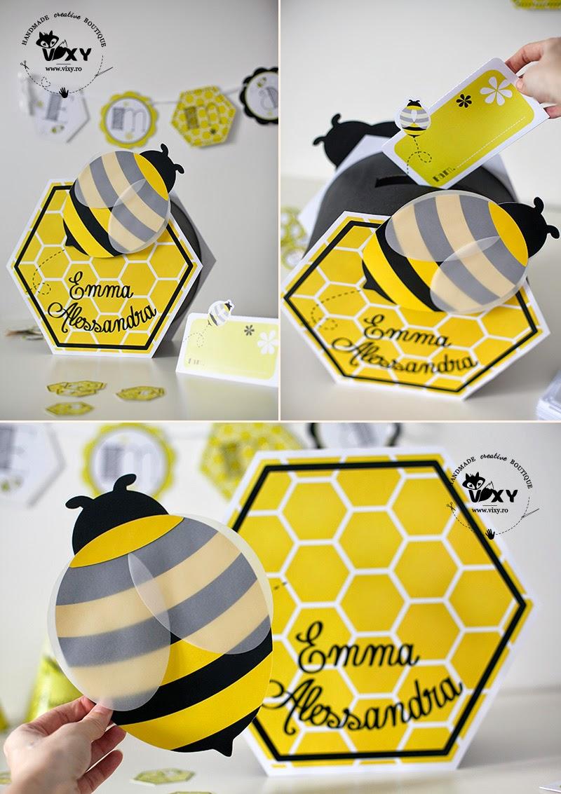 cutie dar handmade, cutie dar albinuta, cutie dar albina personalizata, cutie dar personalizata, cutie pentru dar botez, papetarie personalizata botez, albinuta handmade, vixy.ro, cutie fagure
