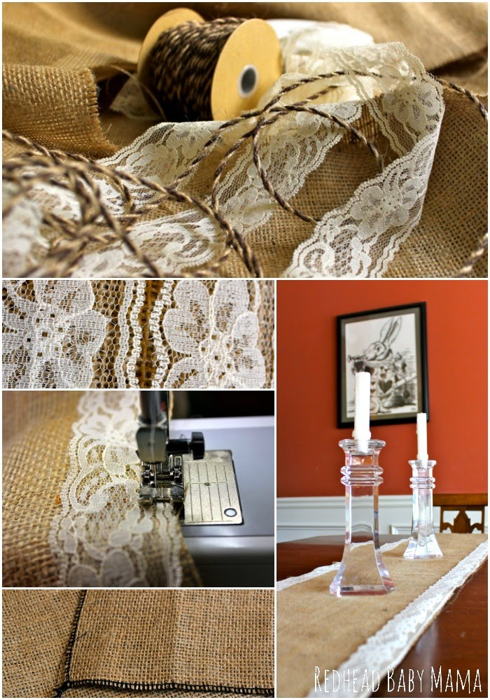 Create a Table Runner from Burlap and Lace