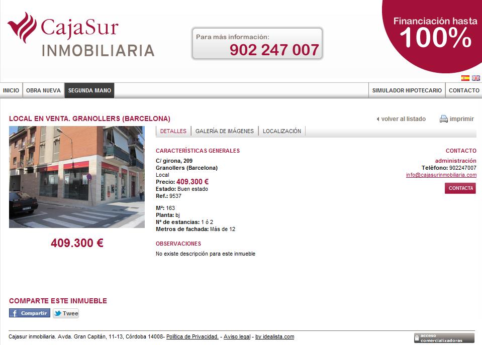 Cajasur promociona locales de las oficinas que ha cerrado for Oficinas cajasur cordoba