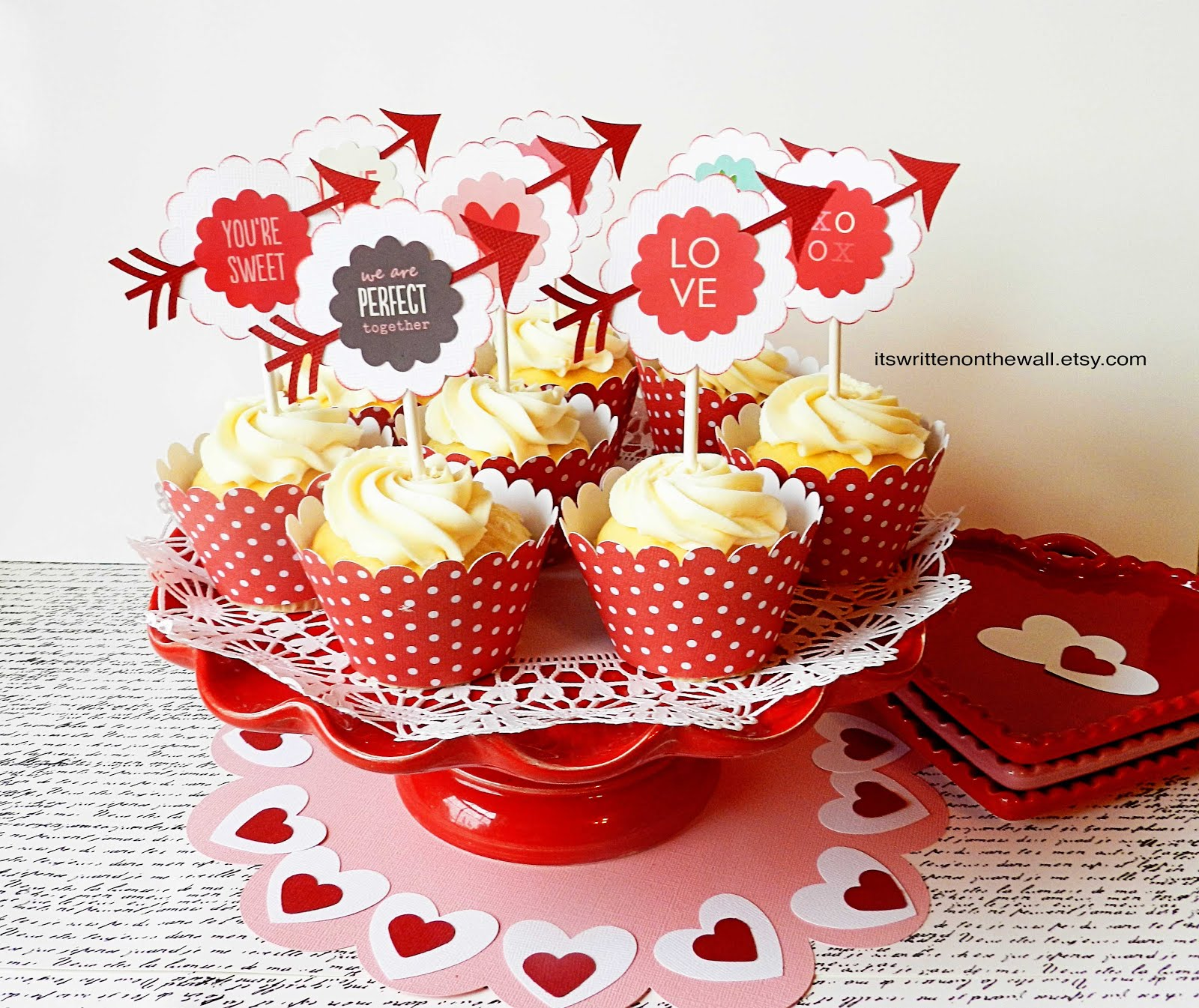Valentine Cupcake Toppers and Wraps (kit)