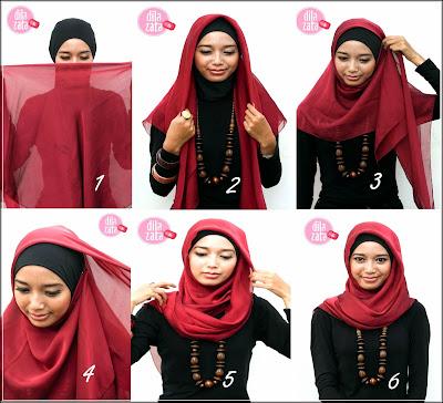 cara memakai jilbab yang cantik