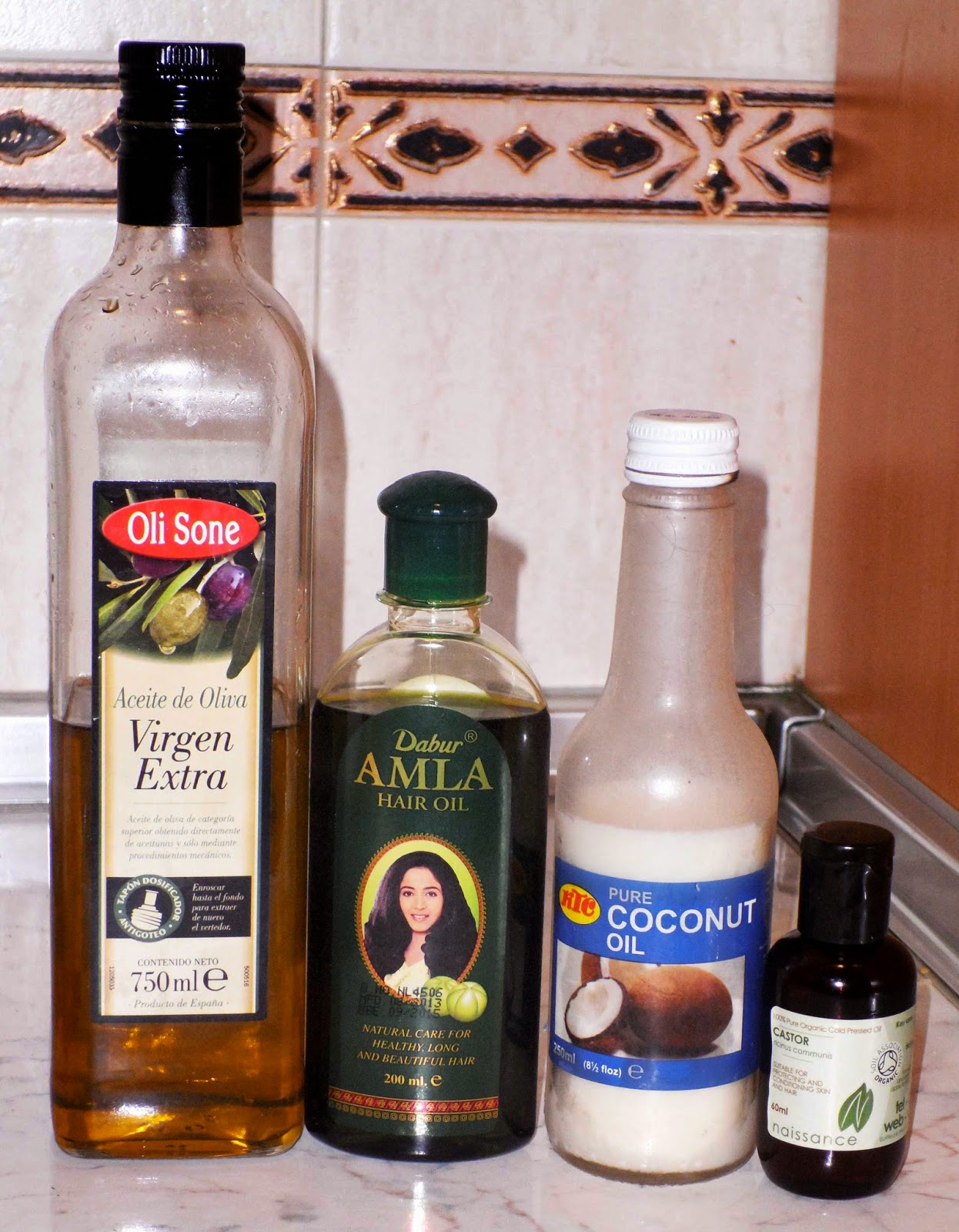 aceites para el cabello oliva coco ricino amla
