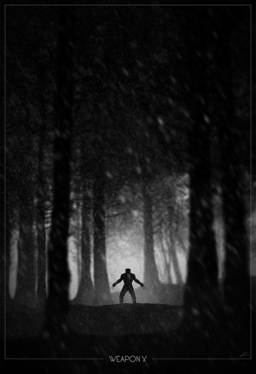 marko manev ilustração poster super heróis noir minimalista preto e branco wolverine arma x