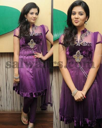 Sree Mukhi Purple Salwar
