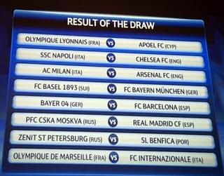 Jadwal Pertandingan 16 Klub Liga Champions 2012
