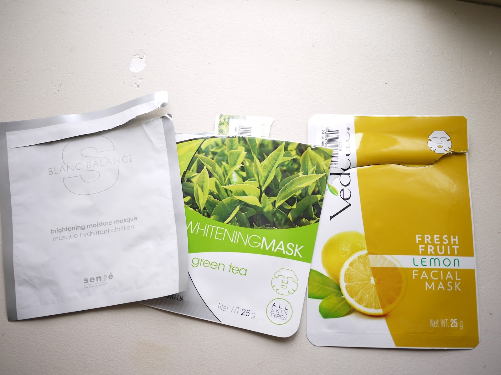 Sense blanc balance mask vedette whitening green tea mask vedette fresh fruit lemon facial mask review