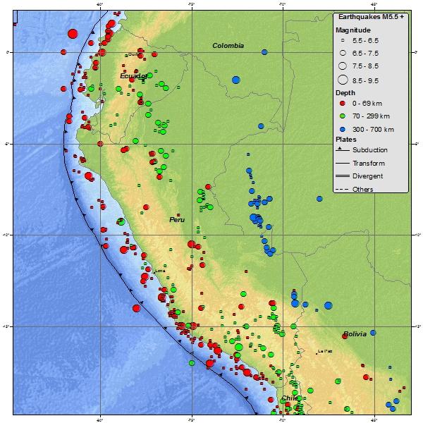 Mapa de sismicidad en el Perú