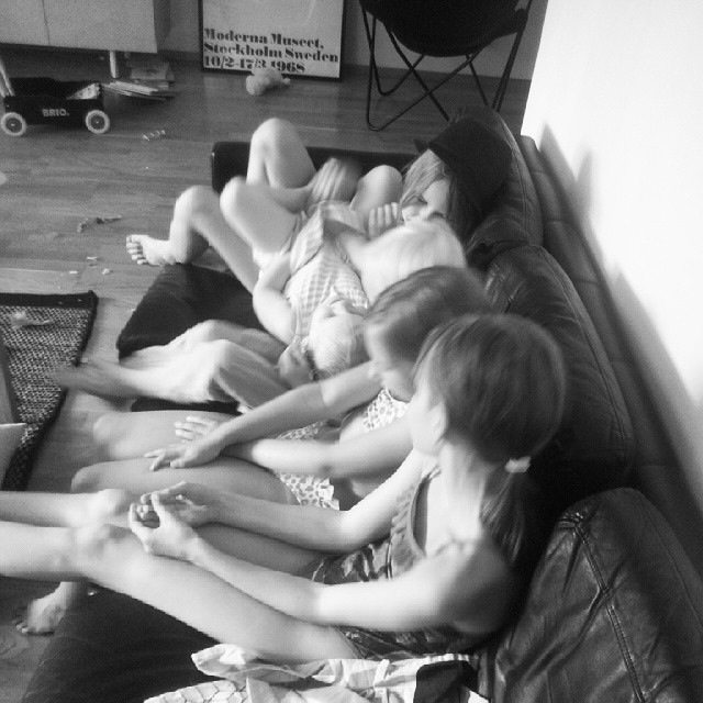Kids on a sofa