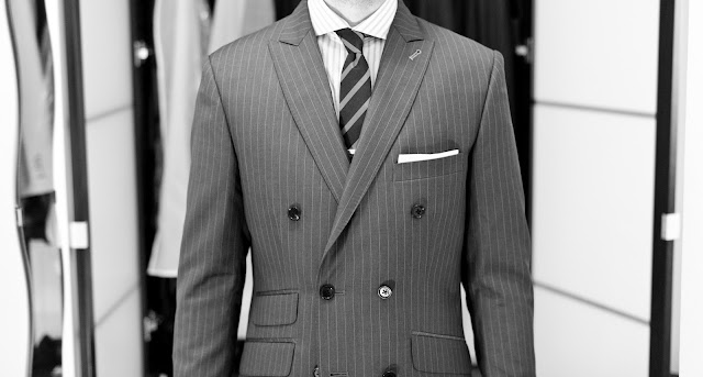 Indochino double-breasted suit front view