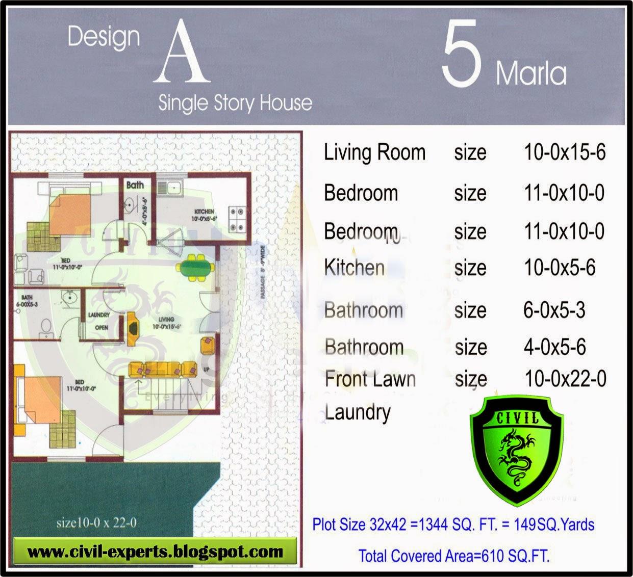 Civil Experts 5 Marla Houses Plans