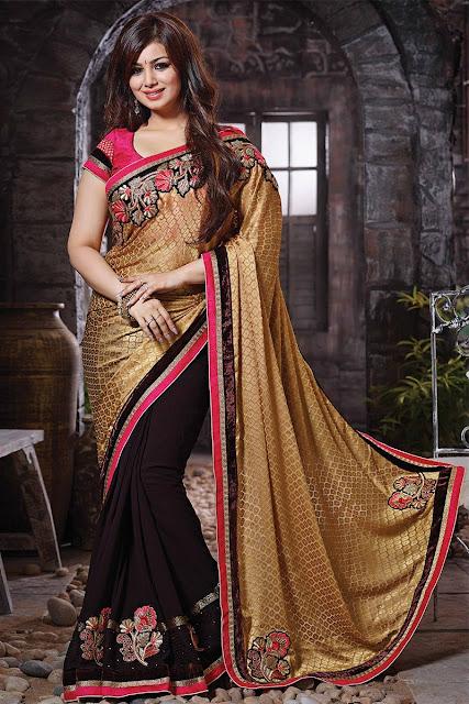 Pink & Cream Viscose Jacquard Saree With Art Silk Blouse