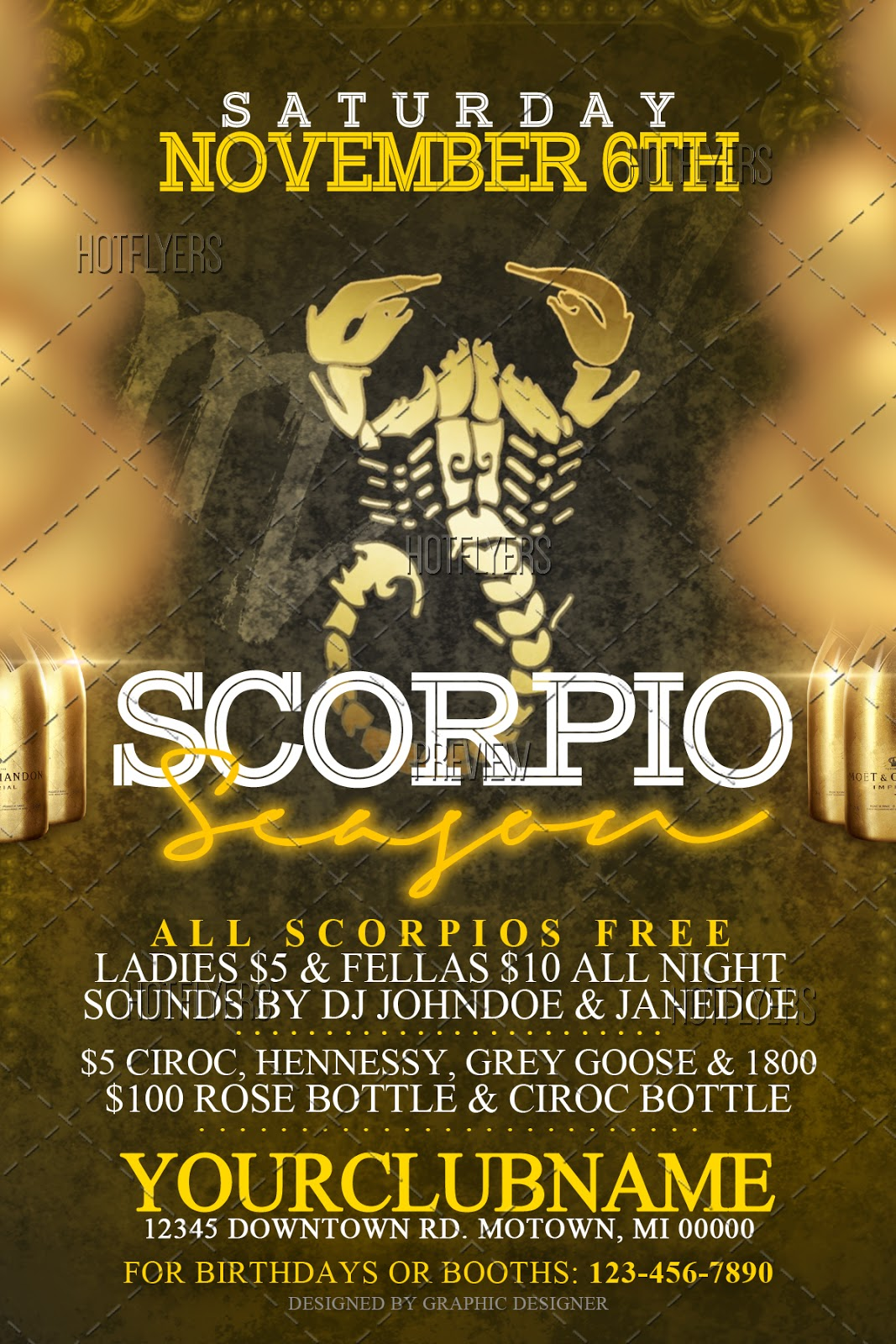 scorpio season psd flyer