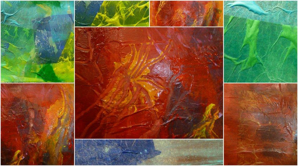 Camera en kwast papiercollages - Koele kleuren warme kleuren ...