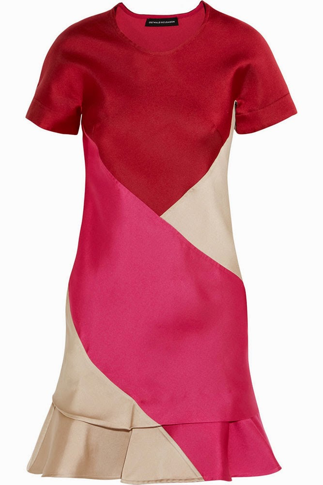 Ostwald Helgason Colour-block satin twill dress
