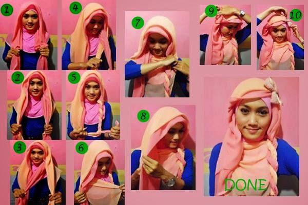 cara memakai jilbab paris dua warna