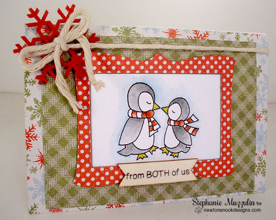 Kissing Penguins Christmas Card by Stephanie Muzzulin | Holiday Smooches Stamp set by Newton's Nook Designs #newtonsnook