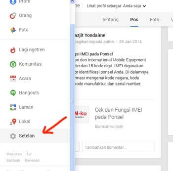 Menu Setting pada Akun Google+