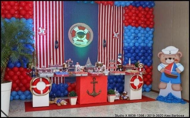 decoração festa infantil, ursinho marinheiro