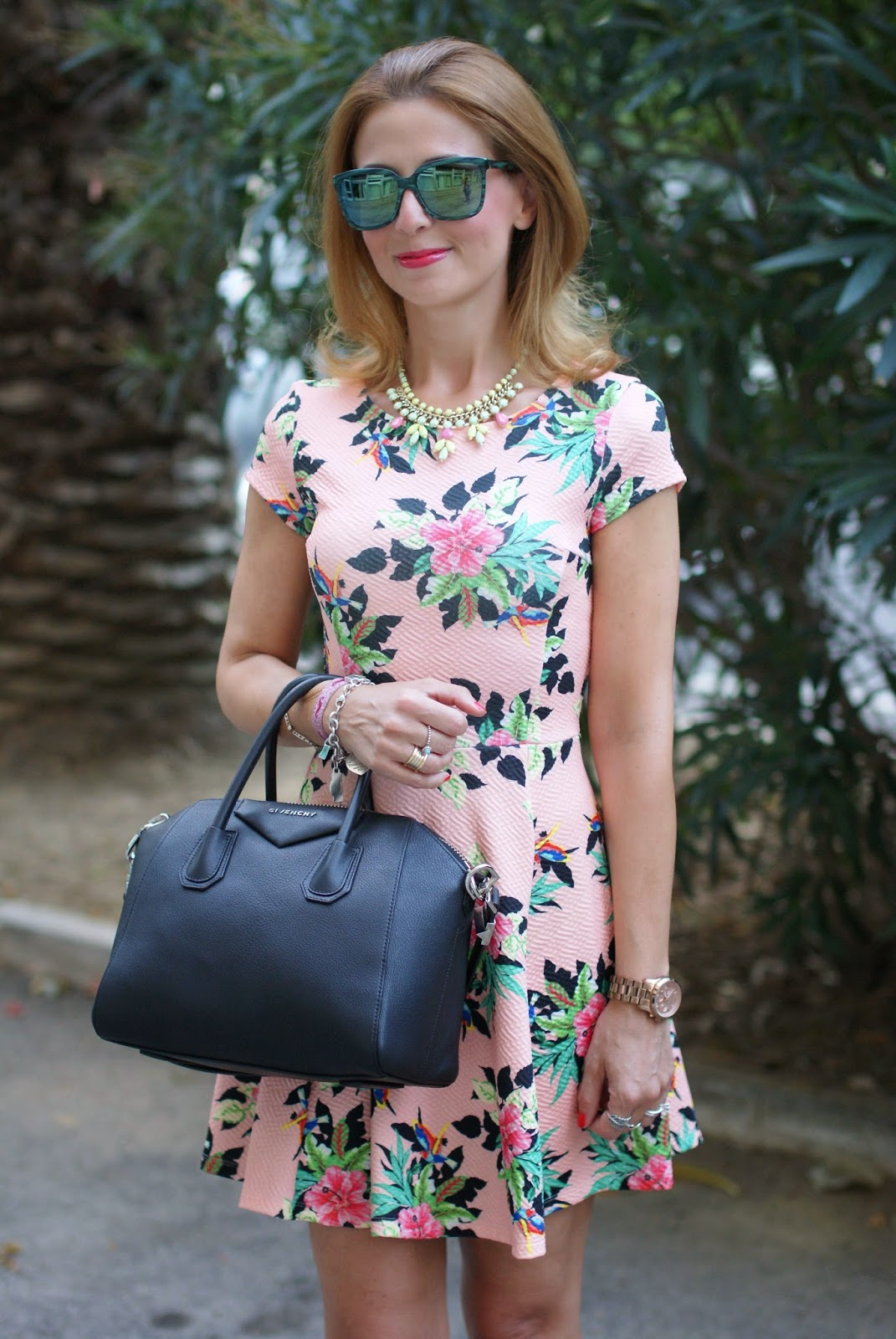 hypeglass green sunglasses, bershka floral dress, Givenchy Antigona small, Fashion and Cookies, fashion blogger