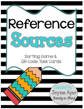http://www.teacherspayteachers.com/Product/Reference-Sources-Sorting-Game-QR-Code-Task-Cards-1166003