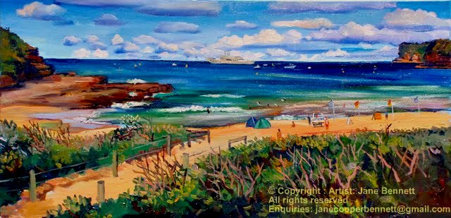 Jane Bennett industrial heritage artist painting of ex HMAS Adelaide from Avoca Beach