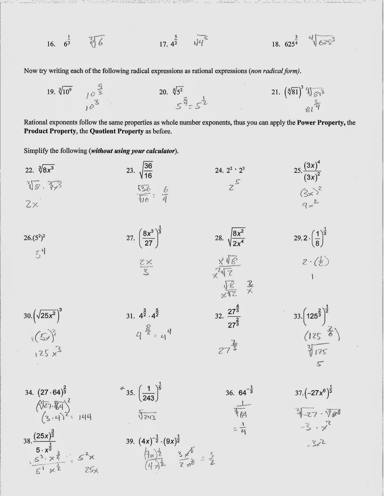 Worksheets Simplifying Radical Expressions Worksheet Answers mr dorans algebra 2 april 2014 the homework is to finish radical expressions and rational exponents exploration ws be checked for completion on friday 44