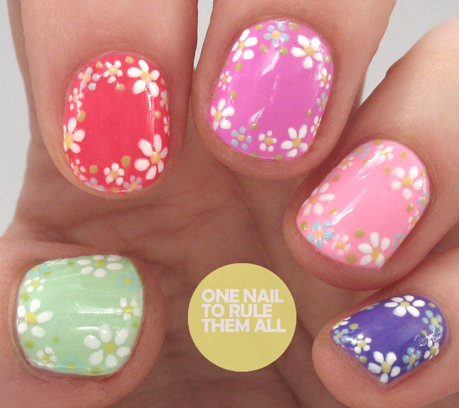 One nail to rule them all gelish hello pretty collection floral one nail to rule them all gelish hello pretty collection floral outline nail art prinsesfo Choice Image